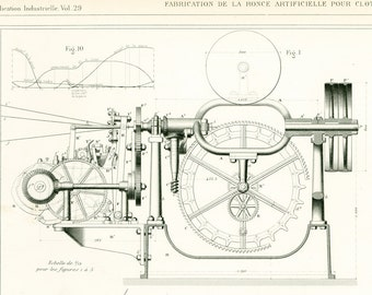 1884 Barbed Wire Manufacturing Patent Print. Engine Wall Art. Armengaud. Paris.