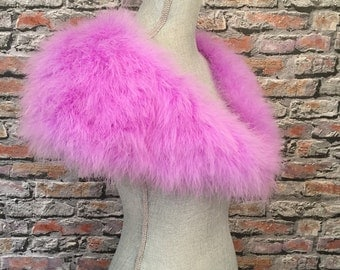 Luxurious Fabulous Marabou Feather Stole Plume Wrap In Violet  Made In France
