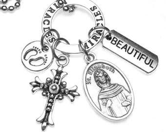 Pregnant Women Patron Saint St. Elizabeth Catholic Holy Medal & Charm Necklace, Mother of John the Baptist, Beautiful Miracles, Pregnancy