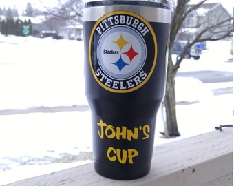 Custom Pittsburgh Steelers YETI RTIC Tumbler Decal Sticker FREE Fast Shipping! Buy 2 Get 1 Free! Best Seller! Only Here! Custom Text!