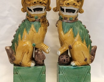 "1890-1920 Antique Chinese Glazed Porcelain Foo Dogs In ""Mint Condition"" (With Signed Appraisal for 1800.00)"