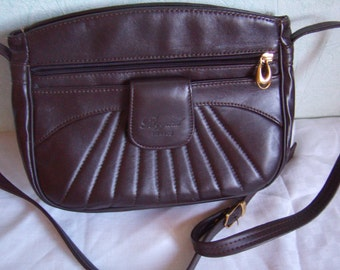 Handbag, bag, Tote, shoulder strap, brown leather, Vintage 1980