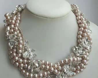 Multistrand pearl and rhinestone necklace,wedding necklace,pearl statement necklace,bridal jewelry,rhinestone and pearl choker