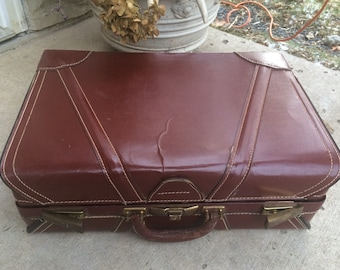 Antique Leather Suitcase/ Brown Vintage Leather Suitcase
