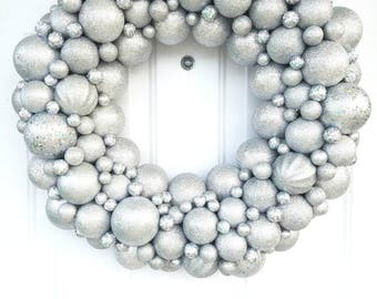 Sparkling Silver Christmas Ornament Wreath