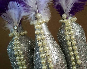 Wedding Reception Bridal Shower Party Centerpiece Wine Bottle Set! Great Gatsby! Feathers, Pearls, Glitter Silver Anniversary Quinceanera!