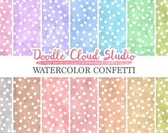 Watercolor Confetti digital paper, Confetti patterns, pastel watercolor background, Instant Download for Personal & Commercial Use