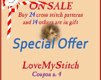 Special Offer - Buy 24 Cross Stitch Patterns and 14 other is in Gift, digital file pattern, needlepoint,  counted cross stitch