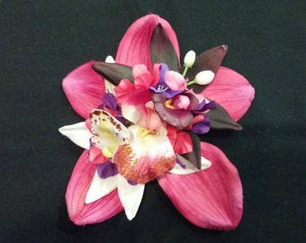 Fushia orchid pinup hair flower with pink, purple and white flowers
