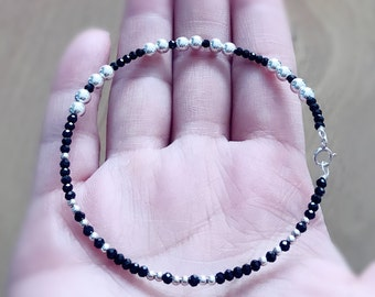 LOVE MOM black spinels gemstone and sterling silver beads bangle  handmade with sterling silver wire
