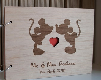 Disney Guest Book / Mickey and Minnie Guest Book / Mickey and Minnie Wedding / Wood Wedding Guest Book  / Disney Guest Book Ideas