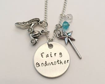 Fairy Godmother Cinderella Disney Princess Inspired Hand Stamped Charm Necklace