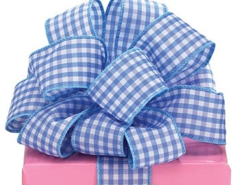 "1.5"" x 20 yds Blue & White Gingham Ribbon/Wired Edge/Wreath Supplies/Spring Ribbon/9710314"