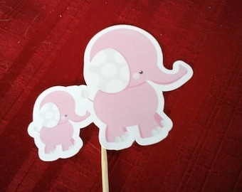 Baby shower, 1st Birthday, Baby Girl, Baby Boy, Pink Elephant, Blue Elephant, Cupcake Topper, Set of 12...Pink  Baby shower elephants