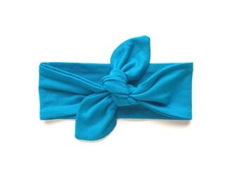 Top Knot Headband, Baby Turban Headband, Bright Blue Headband