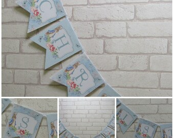 Blue Floral Peter Rabbit Christening  Bunting Banner - Bunny Rabbit,Christening Decoration