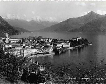 Menaggio, Lago di Como, Italy, Vintage 1950s Black and White Real Photo Unused Postcard