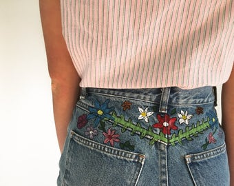 Dainty Floral Handpainted High Waisted Jean Shorts