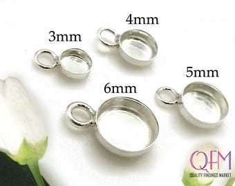 10 pcs Sterling Silver 925 Round Bezel cups with one loop  available sizes: 3mm, 4mm, 5mm, 6mm - Jewelry Basis