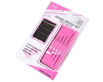 Set of 21 needles sewing embroidery 4.2 to 7.5 cm