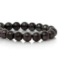 80 Gunmetal 8mm round glass beads