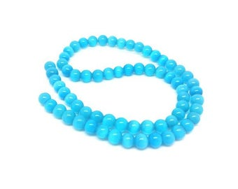 65 6mm blue Turquoise color cat eye beads