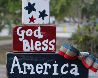 Patriotic 4th of July decor wood sign Fourth of July decorations Home decor Red white and blue Independence day decor