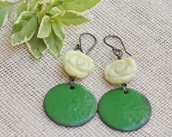 Green copper enamel earrings, Natural stone earrings, Enameled copper jewelry, Sterling silver ear wire, Colorful earrings, Flower earrings