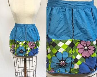 SALE Vintage 1960s Floral Cotton Half Apron. Blue Pueple Green. Harlequin. Pockets