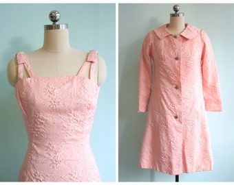 Vintage 1960's Pastel Pink Dress and Jacket | Size Extra Small