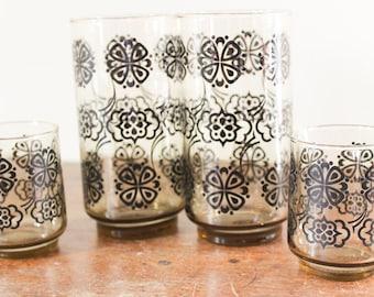 Vintage Libbey Glass Tumbler Drinking Glass and Juice Glasses, Black Pattern, Set of 2 - Set of 4  - Lemonade Water Glasses