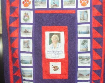 Custom Photo Memory Quilt any Occasion!  The perfect Gift idea, Embroidery added, any size!