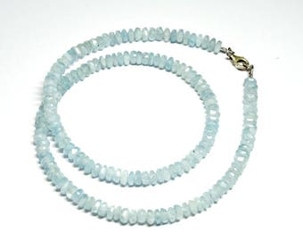 Natural Faceted Blue Aquamarine Gemstone Necklace with Sterling Silver 925