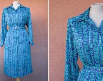 1970's Blue Belted Dress - 70's Midi Dress  -Size S/M
