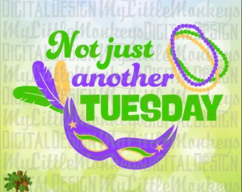Not Just Another Tuesday Beads Mask Mardi Gras Design Digital Clipart & Cut File Instant Download Jpeg Png SVG EPS DXF Formats