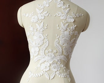 White Lace Appliques Venice Lace Flower Collars Corsage Costome Decor Lace Patches 1pc YL478