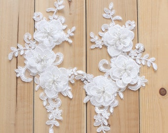 1 pair 3D White Lace Appliques Embroidered Flowers Patches For Wedding Supplies Bridal Hair Flower Headpiece YL550