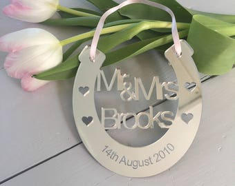Wedding Anniversary Lucky Horseshoe keepsake Mirror acrylic personalised keepsake gift