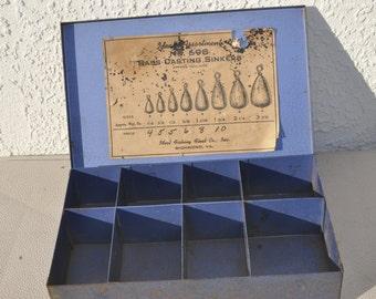 Vintage Ideal Fishing Metal Sinker Box