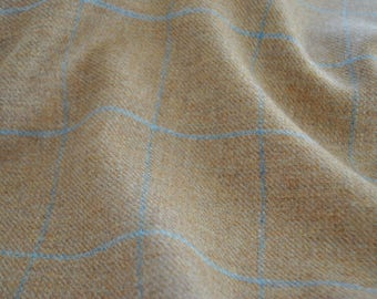 12m x 1.5m Tweed material by the metre in beige with light blue windowpane design