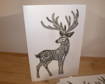 Reindeer Christmas Card Set - Set of 4 Cards - Christmas Cards Deer