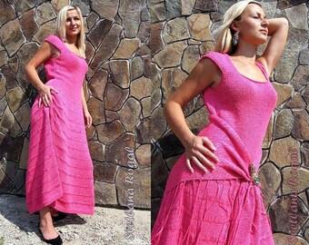 Summer long dress cotton knit dress knit shawl sundress maxi dress set pink fuchsia dress hand knitted dress rustic dress designer dress set