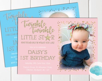 Personalised Glitter Effect Twinkle Star Birthday Invitations with Envelopes
