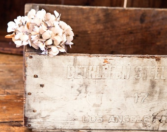 Vintage Primitive Wooden Crate - Bethlehem Steel Company - Rustic Farmhouse / Industrial Decor - Free Shipping Within the USA