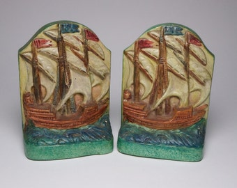 Compton Pottery Arts and Crafts galleon bookends, circa 1910
