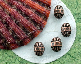 Antique Copper Beads, Copper Ox Beads, Antique Copper Pewter Beads, Lead Free Pewter Beads, Vintage Reproductions, Made in USA ~ PB-048 AC