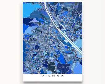 Vienna Map, Vienna Austria, City Map Art Print, Travel Maps