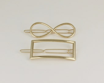 outline barrette Infinity or Rectangle Gold hair clip Gold outline small barrette hair clamp shiny gold barrette outline shape cut out
