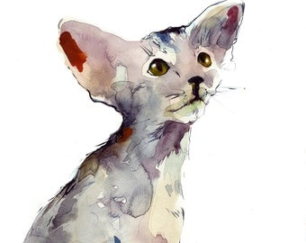 Oriental kitten - watercolor painting - high resolution digital jpg file. Instant download. Adorable cat water color