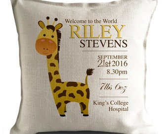 Personalised Baby Cushion Cover - New Baby Girl, Boy Christening Gift - Home Decor Decoration - Giraffe Illustration - 40cm 16 inch